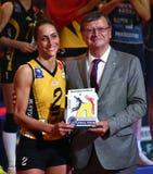 VakifBank ISTANBUL GAGNE la LIGUE 2018 de CHAMPIONNES de FEMMES de VOLLEYBALL de CEV images stock