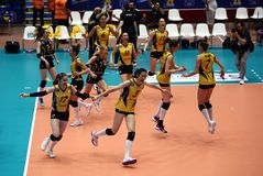 VakifBank ISTANBUL WINS CEV VOLLEYBALL WOMEN CHAMPIONS LEAGUE 2018 stock images