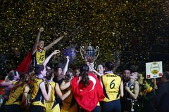 VakifBank ISTANBUL WINS CEV VOLLEYBALL WOMEN CHAMPIONS LEAGUE 2018 stock photography