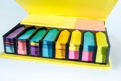 Vakje kleurrijk post-itdocument Stock Fotografie