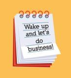 Vakna upp och låt oss göra affär! Royaltyfri Bild
