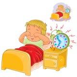 Vaknade det lilla barnet för vektorn upp i morgonen stock illustrationer