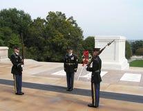 Vakt av heder på gravvalvet av den okända soldaten, Arlington kyrkogård, Virginia royaltyfri bild