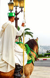 Vakt för hästridning på Hassan Tower i Rabat, Marocko Arkivfoton