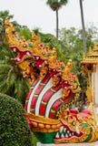 Vakt för orm för Phaya Nagadrake i templet Wat i Thailand Arkivbilder