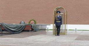 Vakt på den eviga flammagravvalvet av den okända soldaten Royaltyfri Foto