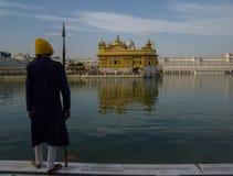Vakt på den guld- templet Arkivfoto