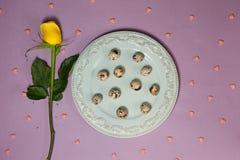 Vaktelägg med gulingrosen på tabellen Top beskådar Fotografering för Bildbyråer