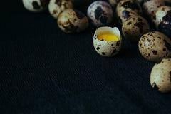 Vaktelägg på en svart texturerad bakgrund Rått brutet ägg med äggulan kort easter Slapp fokus Royaltyfri Foto