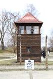 Vakthundtorn i Auschwitz royaltyfria bilder