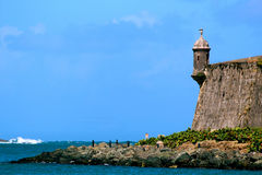 Vakthus (Garita), San AgustÃn bastion, gamla San Juan Arkivbilder
