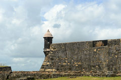 Vaktpostask på Castillo San Felipe del Morro, San Juan Royaltyfri Bild