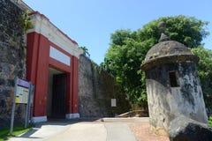 Vaktpostask på Castillo San Felipe del Morro, San Juan Royaltyfri Foto