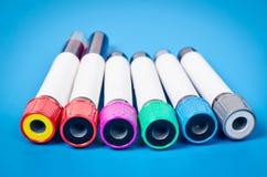 Vakuumröhren für das Sammeln von Blutproben Stockbilder