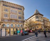 VALÊNCIA, ESPANHA - 15 de novembro de 2017: opinião da rua de Valência do centro Imagens de Stock Royalty Free