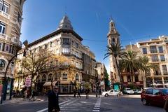 VALÊNCIA, ESPANHA - 15 de novembro de 2017: opinião da rua de Valência do centro Fotografia de Stock
