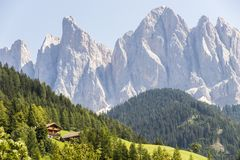 Val二Funes和白云岩,意大利 库存照片