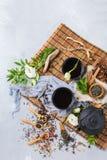 Val av den japanska kinesiska växt- masalatetekannan Royaltyfri Bild