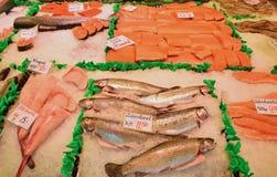Val av den nya fisken på morgonmarknaden i Amsterdam Arkivfoton