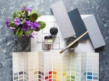 Val av färg för arkitektonisk design Affärsidé med målarfärger för arkitektoniskt projekt royaltyfri bild