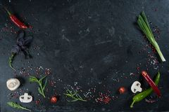 Val av kryddaörter och gräsplaner Ingredienser för matlagning Matbakgrund på svart kritiserar tabellen royaltyfri fotografi