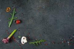 Val av kryddaörter och gräsplaner Ingredienser för matlagning Matbakgrund på svart kritiserar tabellen arkivfoto