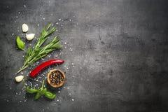 Val av kryddaörter och gräsplaner på svart bästa sikt royaltyfri foto