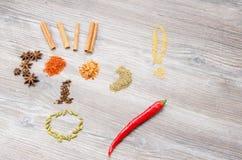 Val av kryddor till maträtten arkivfoton