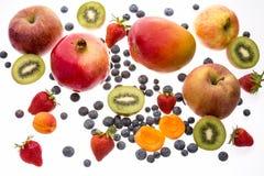 Val av olika frukter som isoleras på vit Arkivfoto