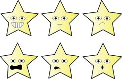 Val av stjärnor med olika uttryck stock illustrationer