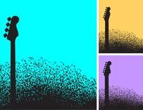 Val av tre bakgrund för musikalisk anmärkning och gitarr stock illustrationer