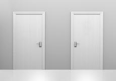 Val av två dörrar till olika val eller beslut, tolkning 3D stock illustrationer