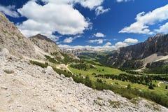 Val Badia dal passaggio di Gardena Immagini Stock Libere da Diritti