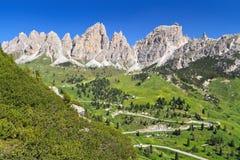 Val Badia - road to Gardena pass Stock Photo