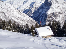Val Blenio. snowy path Stock Photo