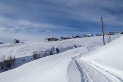 Val Blenio. snowy path Stock Photo