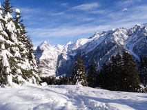 Val Blenio. snowy path Royalty Free Stock Images