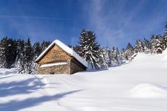 Val Blenio. snowy path Royalty Free Stock Photos