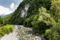 Val Bregaglia with Mera river Royalty Free Stock Images