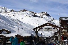 Val Claret, stazione sciistica di inverno di Tignes-Val d Isere, Francia fotografia stock