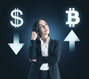 Val-, cryptocurrency- och bitcoinbegrepp arkivbilder