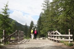 Val d`Aosta, Italy, July 4 2018: couple of elderly people view from behind walking on a wooden bridge on the mountain stock photo