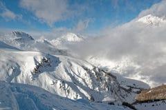 Val d ` Isère ośrodek narciarski od Solaise Zdjęcie Royalty Free