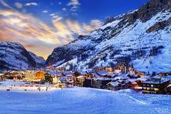Val d'Isère城市 免版税库存图片