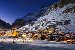 Val d'Isère stad royalty-vrije stock foto