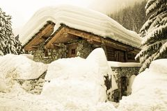 The snowy Old Village of Val d`Isère Stock Images