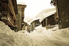 The snowy Old Village of Val d`Isère Royalty Free Stock Images