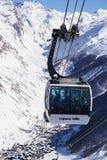 Val D'Isere et chemin de câble Photo stock
