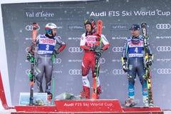 Val d`Isere Men`s Giant Slalom 2018. 08 Dec 2018 Podium presentation Marcel Hirscher of Austria wins Val d`Isere men`s Giant Slalom Audi FIS Alpine Ski World Cup stock photo