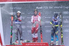 Val d`Isere Men`s Giant Slalom 2018. 08 Dec 2018 Podium presentation Marcel Hirscher of Austria wins Val d`Isere men`s Giant Slalom Audi FIS Alpine Ski World Cup royalty free stock photography